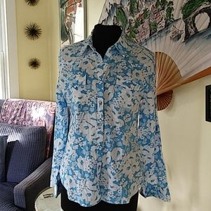 Izod sky blue and white snap down shirt sz L